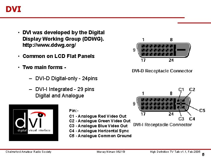 DVI • DVI was developed by the Digital Display Working Group (DDWG). http: //www.