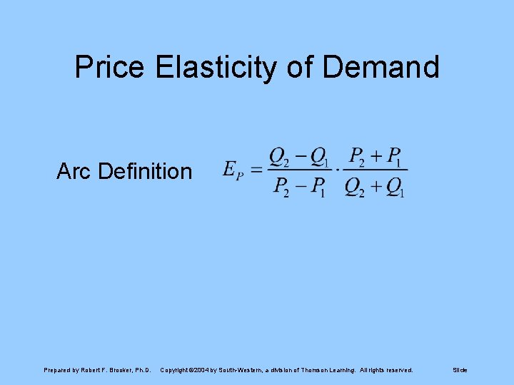 Price Elasticity of Demand Arc Definition Prepared by Robert F. Brooker, Ph. D. Copyright