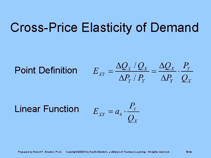 Cross-Price Elasticity of Demand Point Definition Linear Function Prepared by Robert F. Brooker, Ph.