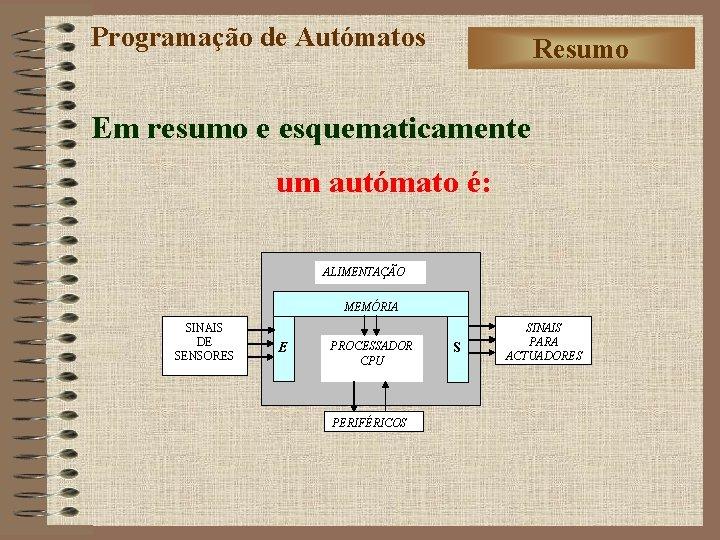 Programação de Autómatos Resumo Em resumo e esquematicamente um autómato é: ALIMENTAÇÃO MEMÓRIA SINAIS