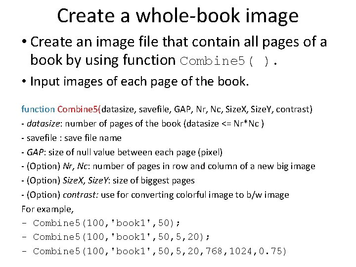 Create a whole-book image • Create an image file that contain all pages of