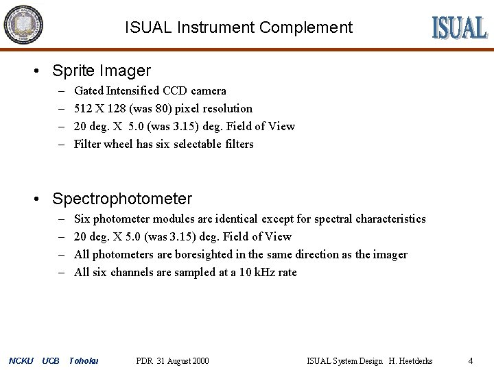 ISUAL Instrument Complement • Sprite Imager – – Gated Intensified CCD camera 512 X