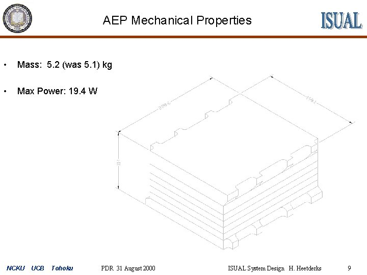 AEP Mechanical Properties • Mass: 5. 2 (was 5. 1) kg • Max Power: