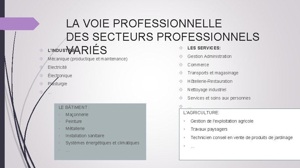 LA VOIE PROFESSIONNELLE DES SECTEURS PROFESSIONNELS VARIÉS LES SERVICES: L'INDUSTRIE : Gestion Administration Mécanique