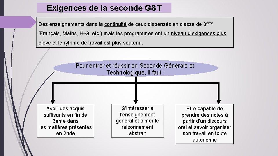 Exigences de la seconde G&T Des enseignements dans la continuité de ceux dispensés en