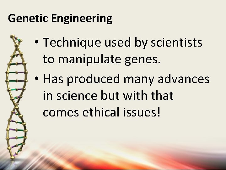 Genetic Engineering • Technique used by scientists to manipulate genes. • Has produced many