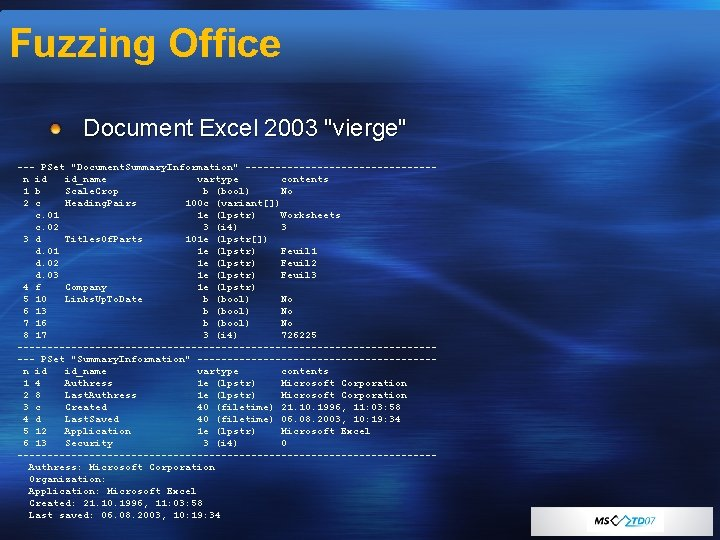 """Fuzzing Office Document Excel 2003 """"vierge"""" --- PSet """"Document. Summary. Information"""" ----------------n id id_name"""