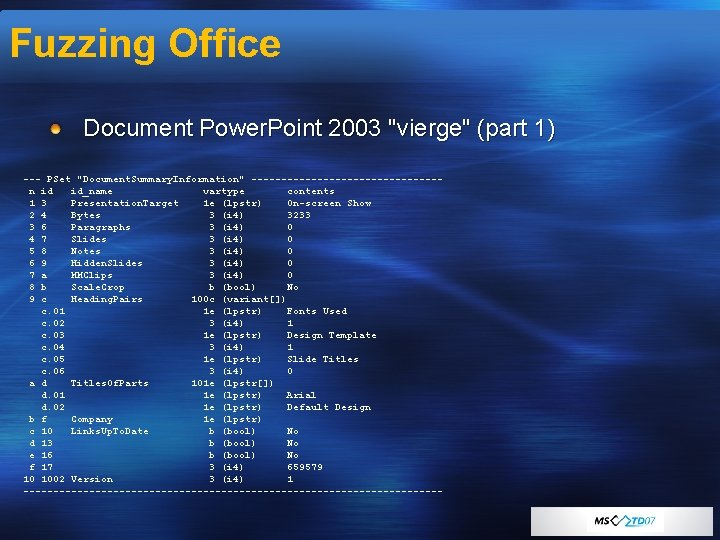 """Fuzzing Office Document Power. Point 2003 """"vierge"""" (part 1) --- PSet """"Document. Summary. Information"""""""