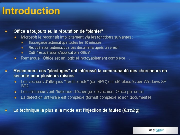 """Introduction Office a toujours eu la réputation de """"planter"""" Microsoft le reconnaît implicitement via"""