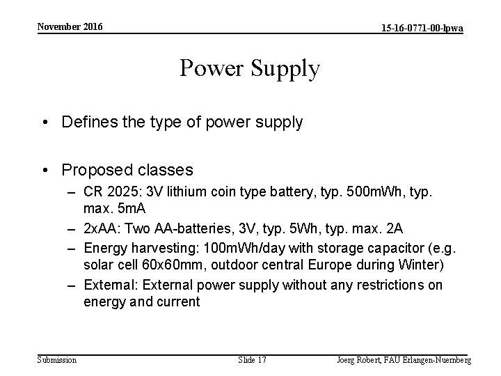 November 2016 15 -16 -0771 -00 -lpwa Power Supply • Defines the type of