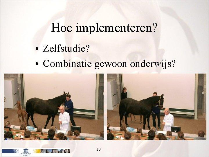 Hoe implementeren? • Zelfstudie? • Combinatie gewoon onderwijs? 13
