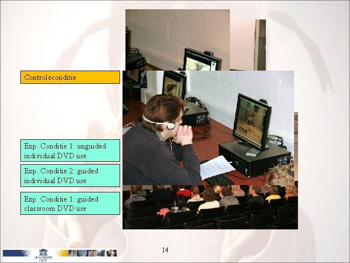 Onderzoek Controleconditie Exp. Conditie 1: unguided individual DVD use Exp. Conditie 2: guided individual