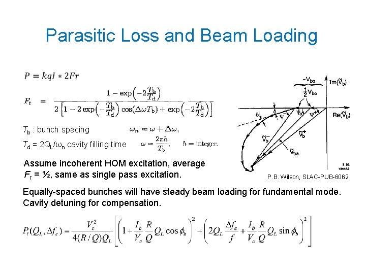 Parasitic Loss and Beam Loading • Tb : bunch spacing Td = 2 QL/ωn
