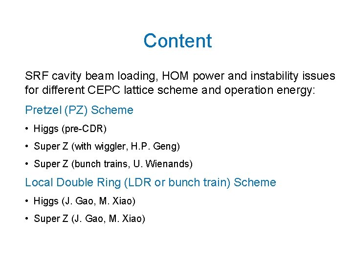 Content SRF cavity beam loading, HOM power and instability issues for different CEPC lattice