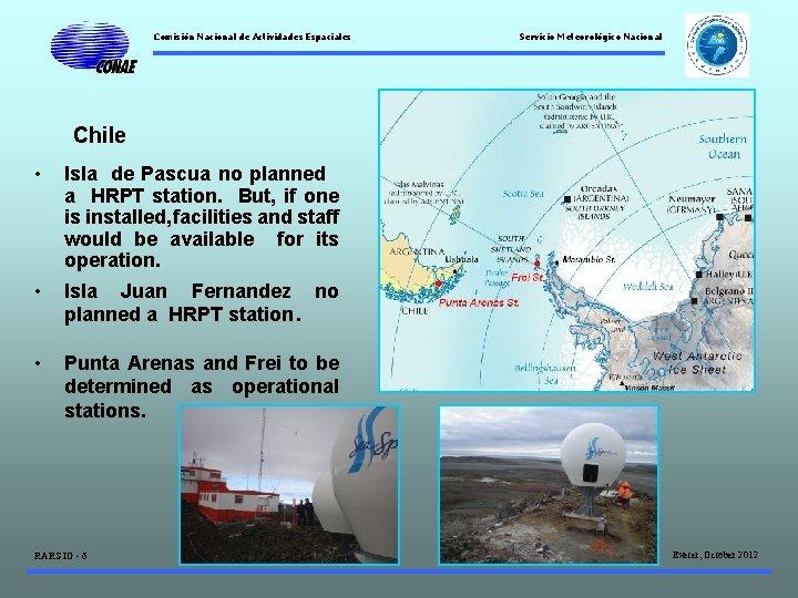 Comisión Nacional de Actividades Espaciales Servicio Meteorológico Nacional Chile • Isla de Pascua no