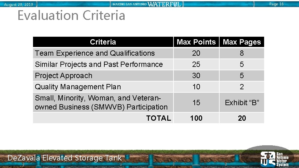 Page 16 August 29, 2019 Evaluation Criteria Team Experience and Qualifications Similar Projects and