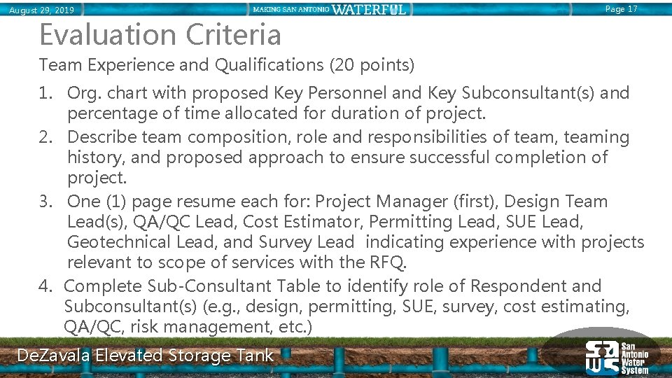 August 29, 2019 Page 17 Evaluation Criteria Team Experience and Qualifications (20 points) 1.