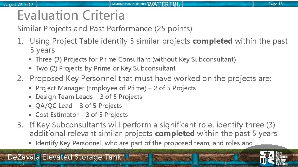 Page 18 August 29, 2019 Evaluation Criteria Similar Projects and Past Performance (25 points)