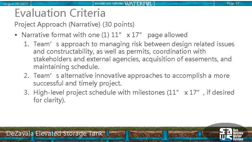 August 29, 2019 Page 19 Evaluation Criteria Project Approach (Narrative) (30 points) § Narrative
