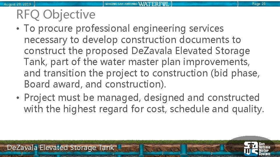 August 29, 2019 Page 26 RFQ Objective • To procure professional engineering services necessary