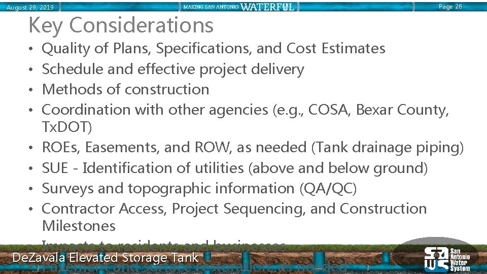 August 29, 2019 Page 28 Key Considerations Quality of Plans, Specifications, and Cost Estimates