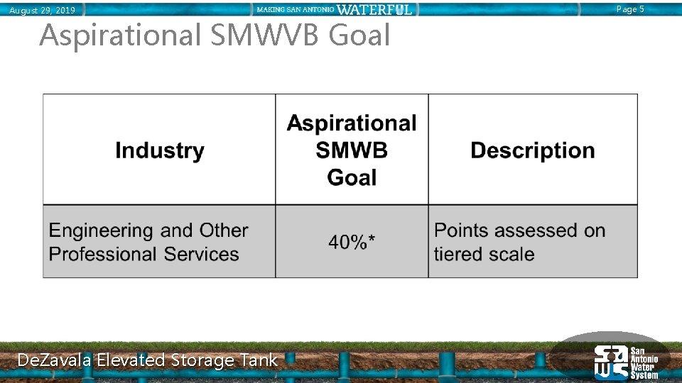 August 29, 2019 Aspirational SMWVB Goal De. Zavala Elevated Storage Tank Page 5