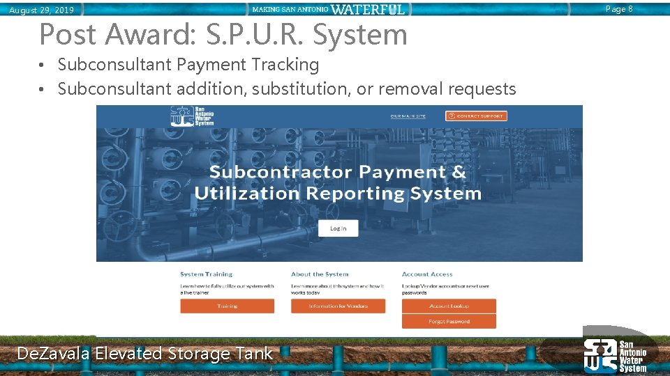 August 29, 2019 Post Award: S. P. U. R. System • Subconsultant Payment Tracking