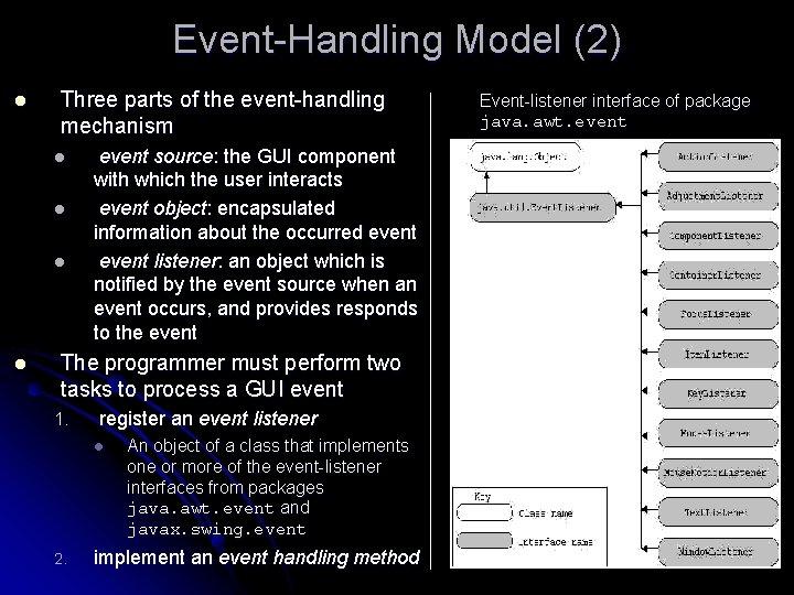 Event-Handling Model (2) l Three parts of the event-handling mechanism l l event source: