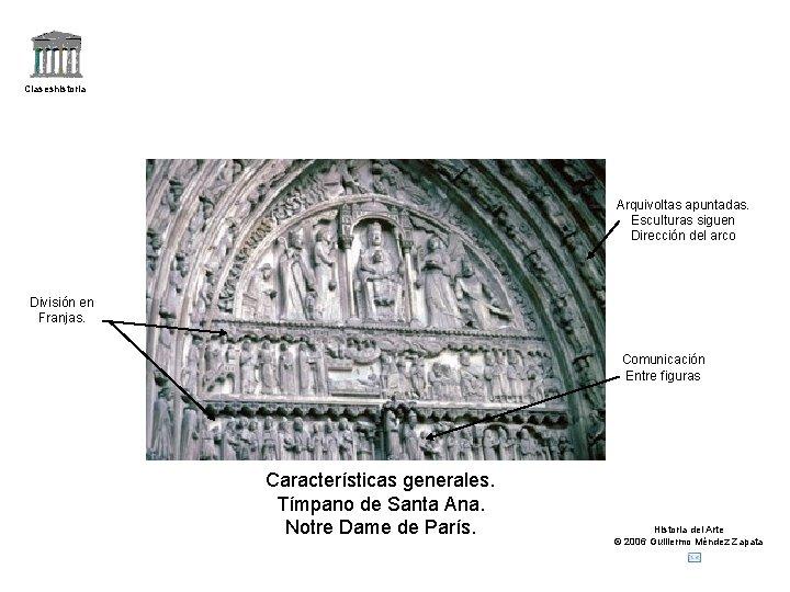 Claseshistoria Arquivoltas apuntadas. Esculturas siguen Dirección del arco División en Franjas. Comunicación Entre figuras