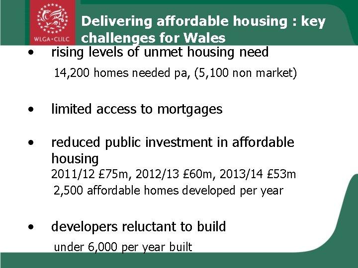 • Delivering affordable housing : key challenges for Wales rising levels of unmet