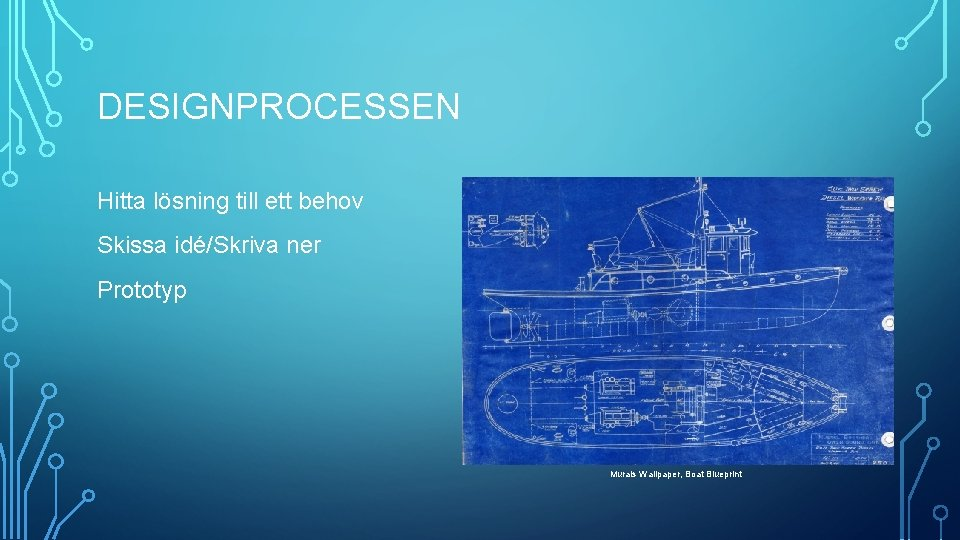 DESIGNPROCESSEN Hitta lösning till ett behov Skissa idé/Skriva ner Prototyp Murals Wallpaper, Boat Blueprint