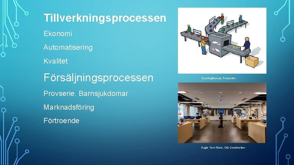 Tillverkningsprocessen Ekonomi Automatisering Kvalitet Försäljningsprocessen Shoutingthomas, Production Provserie. Barnsjukdomar Marknadsföring Förtroende Eagle Tech Store,