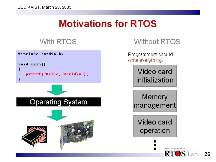 IDEC KAIST, March 28, 2003 Motivations for RTOS With RTOS #include <stdio. h> void