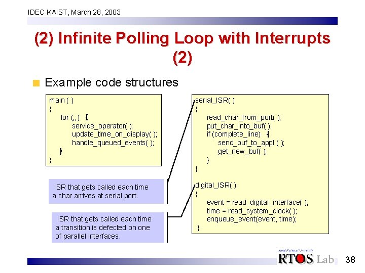 IDEC KAIST, March 28, 2003 (2) Infinite Polling Loop with Interrupts (2) Example code