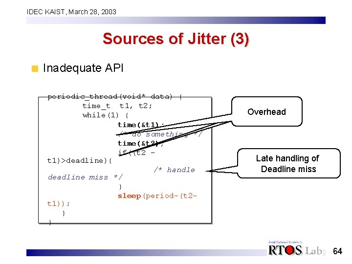 IDEC KAIST, March 28, 2003 Sources of Jitter (3) Inadequate API periodic_thread(void* data) {