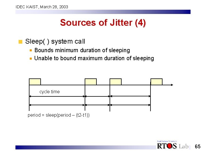 IDEC KAIST, March 28, 2003 Sources of Jitter (4) Sleep( ) system call Bounds