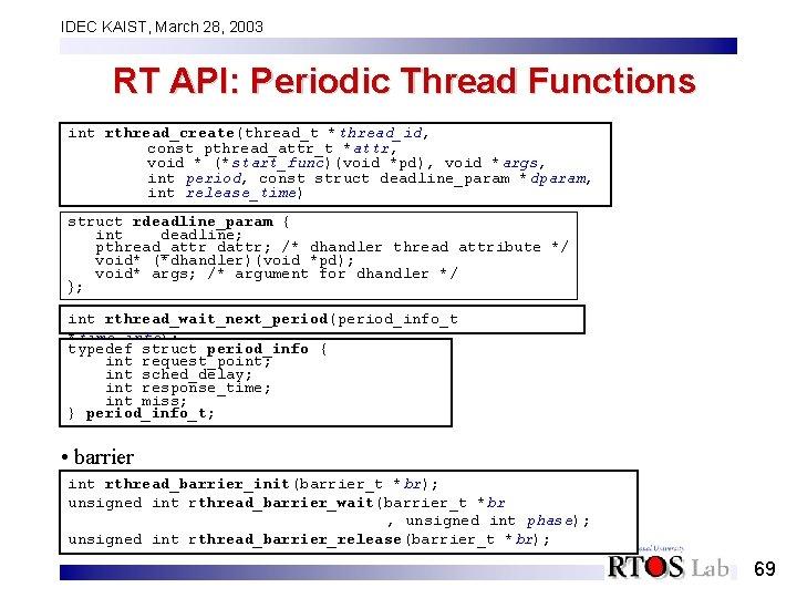 IDEC KAIST, March 28, 2003 RT API: Periodic Thread Functions int rthread_create(thread_t *thread_id, const