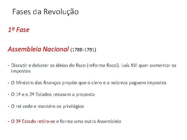 Fases da Revolução 1º Fase Assembleia Nacional (1788 -1791) - Discutir e debater as