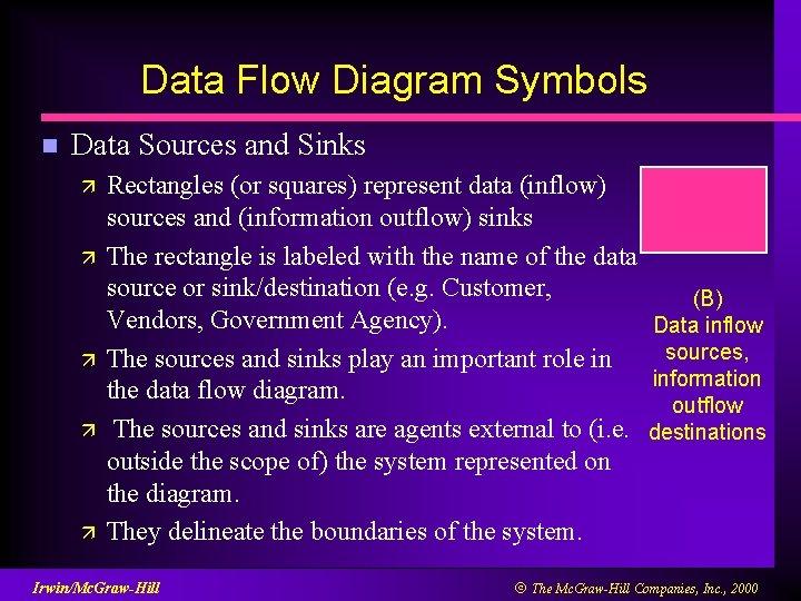 Data Flow Diagram Symbols n Data Sources and Sinks ä ä ä Rectangles (or