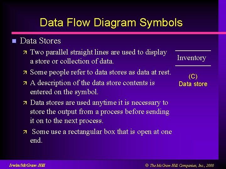 Data Flow Diagram Symbols n Data Stores ä ä ä Two parallel straight lines
