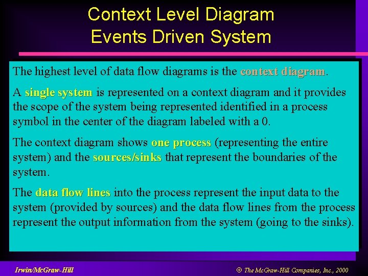 Context Level Diagram Events Driven System The highest level of data flow diagrams is