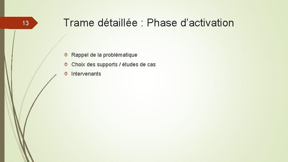 13 Trame détaillée : Phase d'activation Rappel de la problématique Choix des supports /