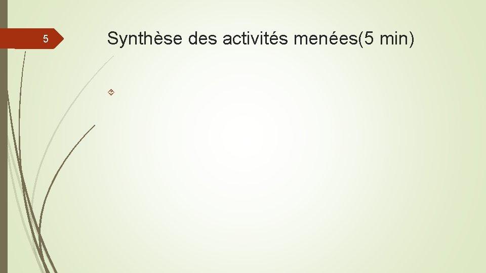 5 Synthèse des activités menées(5 min)