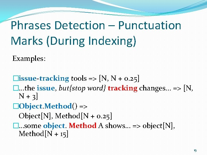 Phrases Detection – Punctuation Marks (During Indexing) Examples: �issue-tracking tools => [N, N +