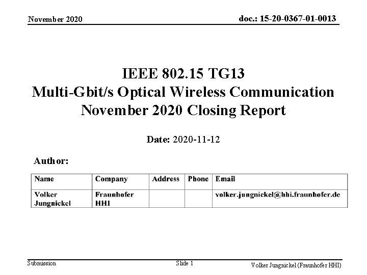doc. : 15 -20 -0367 -01 -0013 November 2020 IEEE 802. 15 TG 13