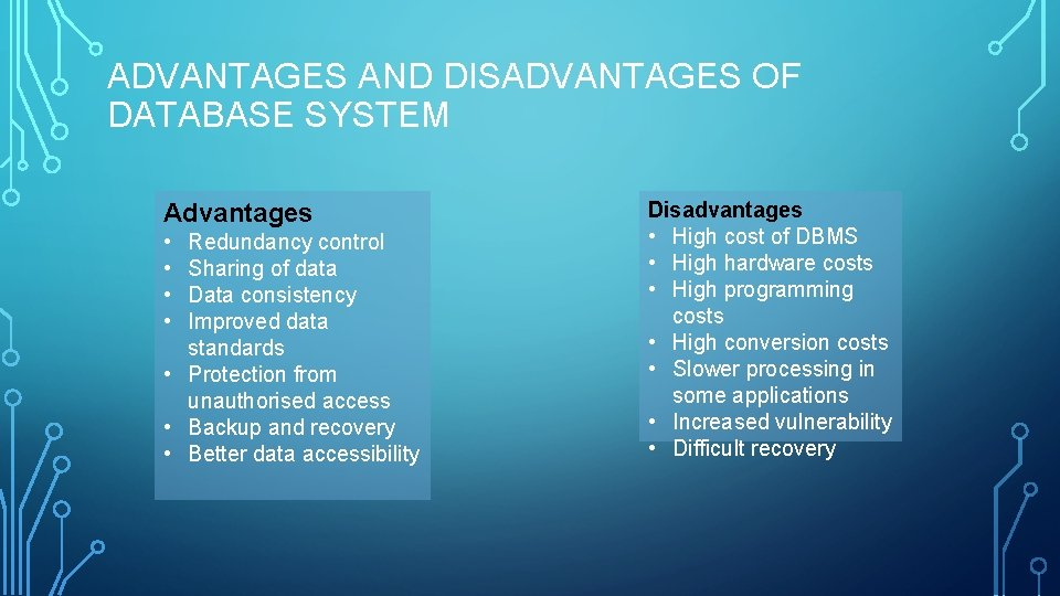 ADVANTAGES AND DISADVANTAGES OF DATABASE SYSTEM Advantages • • Redundancy control Sharing of data
