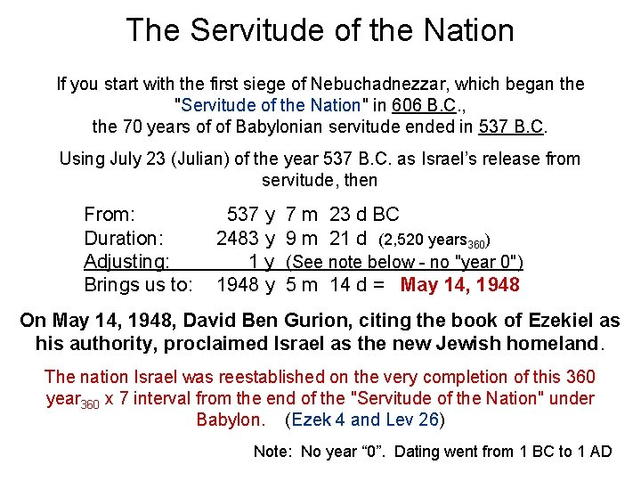 The Servitude of the Nation If you start with the first siege of Nebuchadnezzar,