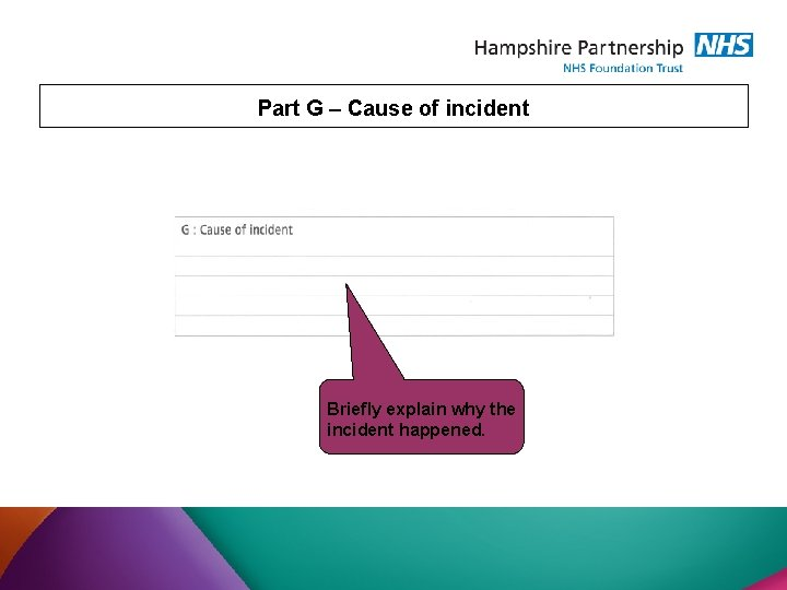 Part G – Cause of incident Briefly explain why the incident happened.