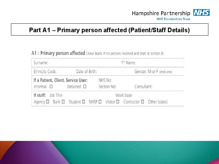 Part A 1 – Primary person affected (Patient/Staff Details)