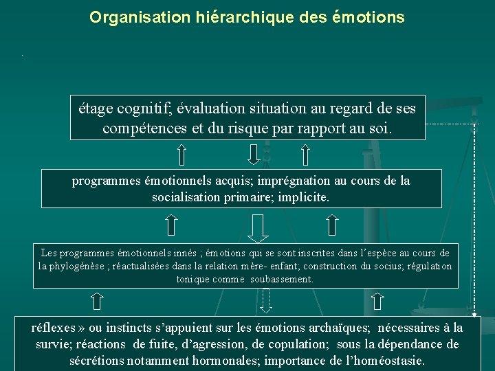 Organisation hiérarchique des émotions. étage cognitif; évaluation situation au regard de ses compétences et